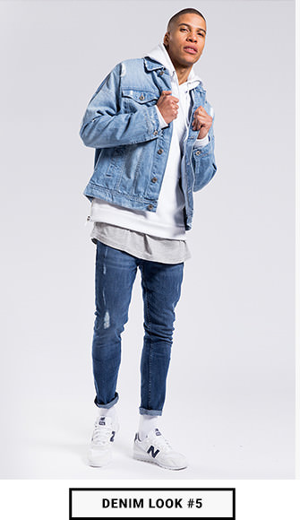 Denim Trends Look_Jeansjacke und Jeanshose_Männer Denim Look