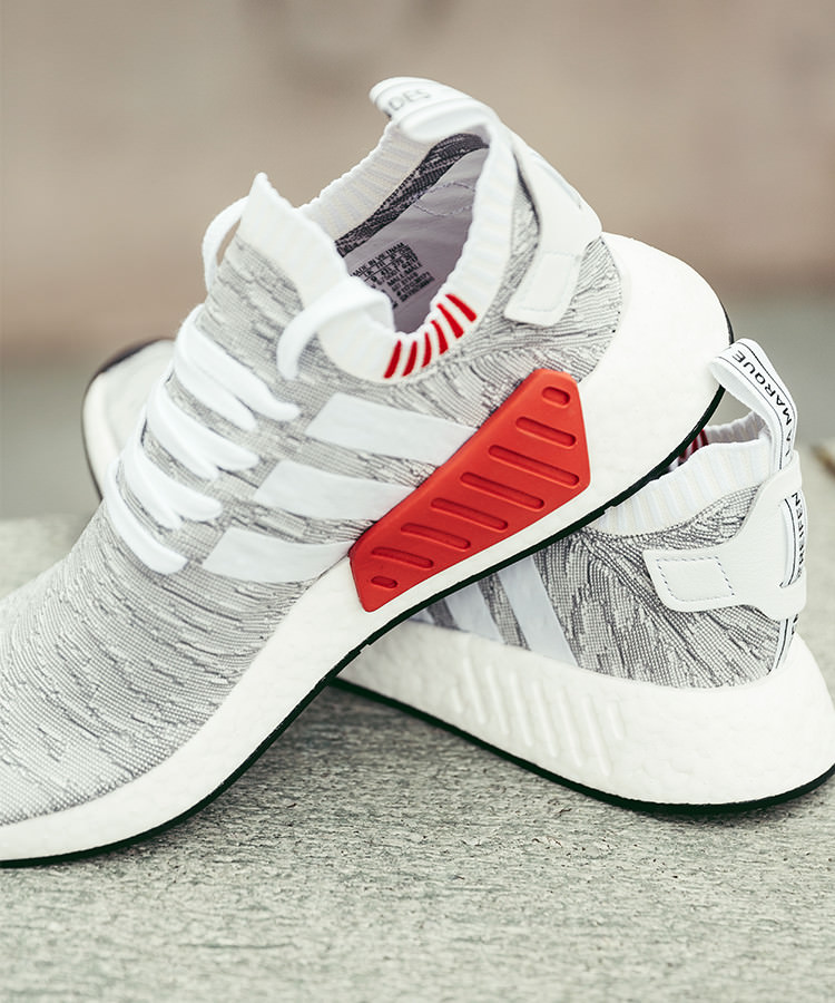 adidas nmd r2 pk grau weiss meliert mit rotem bumber