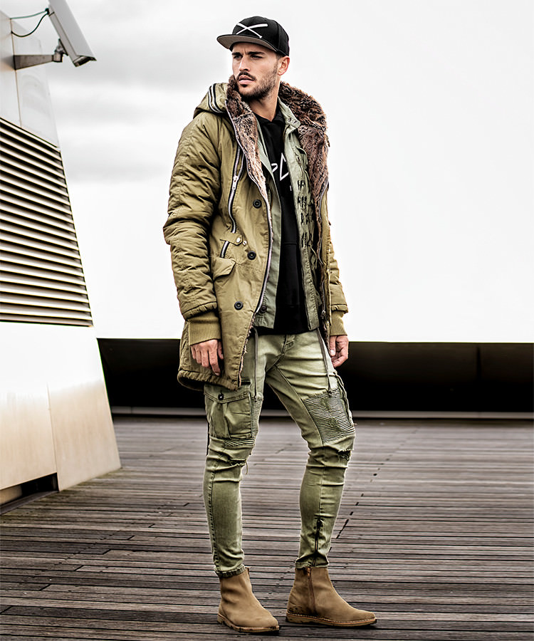 Winterjacke Double-Zipper in khaki_Outfit