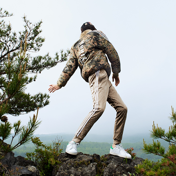 Pharrell Williams HU Hiking Camouflage Outfit