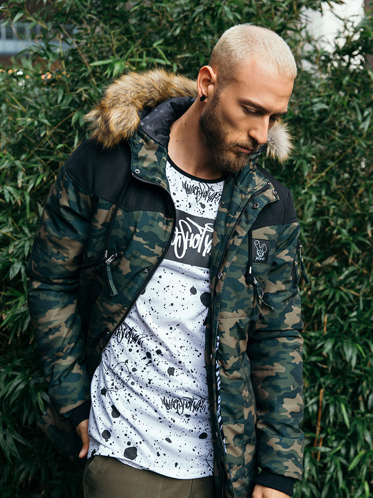 manteau-hiver-camouflage-fausse -fourrure-camouflage